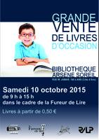 samedi 10 octobre, de 9 à 15h, Grande vente de livres d'occasion